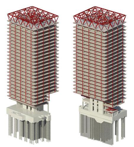 طراحی ساختمان بلند با سیستم قاب محیطی مرکز انجام پروژه